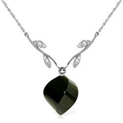 Genuine 15.52 ctw Black Spinel & Diamond Necklace Jewelry 14KT White Gold - REF-36F9Z