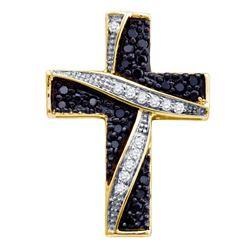 0.25 CTW Black Color Diamond Asymmetric Cross Pendant 10KT Yellow Gold - REF-14K9W