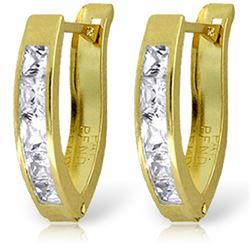 Genuine 1.20 ctw White Topaz Earrings Jewelry 14KT Yellow Gold - REF-24H5X