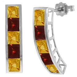 Genuine 4.5 ctw Citrine & Garnet Earrings Jewelry 14KT White Gold - REF-38A5K