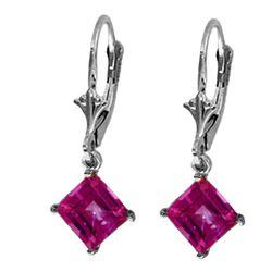 Genuine 3.2 ctw Pink Topaz Earrings Jewelry 14KT White Gold - REF-31N2R