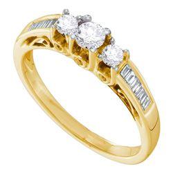 0.50 CTW Diamond 3-stone Bridal Engagement Ring 14KT Yellow Gold - REF-59N9F
