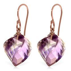 Genuine 21.5 ctw Amethyst Earrings Jewelry 14KT Rose Gold - REF-36A9K