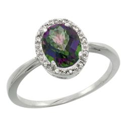 Natural 1.22 ctw Mystic-topaz & Diamond Engagement Ring 10K White Gold - REF-20K3R