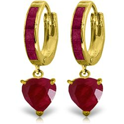 Genuine 3.65 ctw Ruby Earrings Jewelry 14KT Yellow Gold - REF-67R9P
