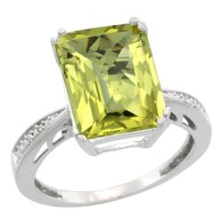 Natural 5.42 ctw Lemon-quartz & Diamond Engagement Ring 10K White Gold - REF-55R5Z