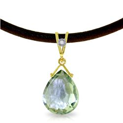Genuine 6.51 ctw Green Amethyst & Diamond Necklace Jewelry 14KT Yellow Gold - REF-26A9K