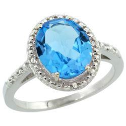 Natural 2.42 ctw Swiss-blue-topaz & Diamond Engagement Ring 14K White Gold - REF-34F7N