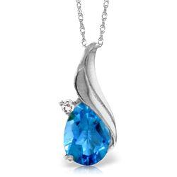 Genuine 2.53 ctw Blue Topaz & Diamond Necklace Jewelry 14KT White Gold - REF-36N2R