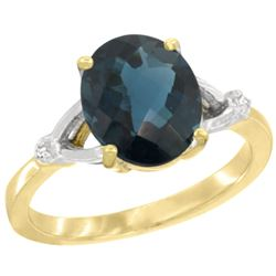 Natural 2.41 ctw London-blue-topaz & Diamond Engagement Ring 10K Yellow Gold - REF-25H5W