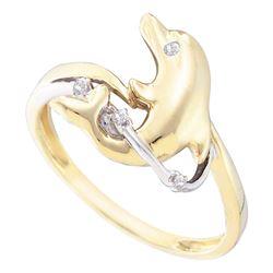 0.03 CTW Diamond Dolphin Animal Ring 10KT Yellow Gold - REF-12N8F