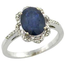 Natural 2.25 ctw Blue-sapphire & Diamond Engagement Ring 14K White Gold - REF-52R3Z