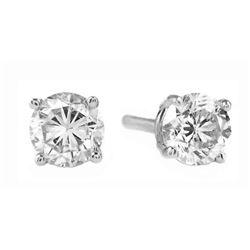 Genuine 0.50 ctw Diamond Anniversary Earrings Jewelry 14KT White Gold - REF-100X2M