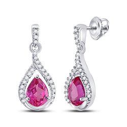 3.2 CTW Created Pink Sapphire Dangle Earrings 10KT White Gold - REF-22W4K