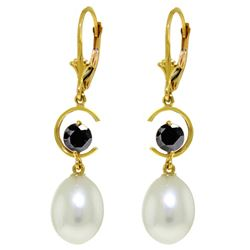 Genuine 9 ctw Pearl & Black Diamond Earrings Jewelry 14KT Yellow Gold - REF-64R7P