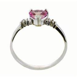 Genuine 0.98 ctw Pink Topaz & Diamond Ring Jewelry 14KT White Gold - REF-31V2W