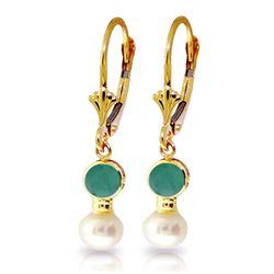 Genuine 5.2 ctw Emerald & Pearl Earrings Jewelry 14KT Yellow Gold - REF-39A8K