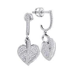 0.33 CTW Diamond Milgrain Heart Dangle Screwback Earrings 10KT White Gold - REF-37W5K