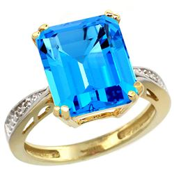 Natural 5.42 ctw Swiss-blue-topaz & Diamond Engagement Ring 10K Yellow Gold - REF-57M3H
