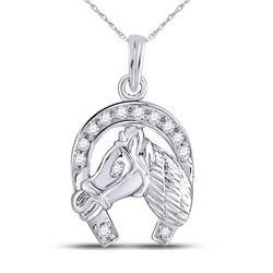 0.10 CTW Diamond Lucky Horseshoe Charm Pendant 10KT White Gold - REF-13W4K