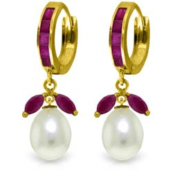 Genuine 10.30 ctw Ruby & Pearl Earrings Jewelry 14KT Yellow Gold - REF-61R3P