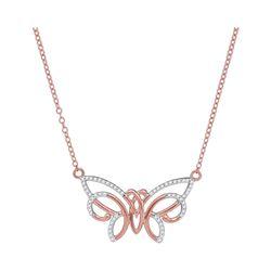 0.20 CTW Diamond Butterfly Bug Pendant 10KT Rose Gold - REF-20K9W