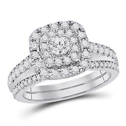 1.03 CTW Diamond Bellissimo Double Square Halo Bridal Ring 14KT White Gold - REF-120Y2X