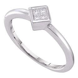 0.10 CTW Princess Diamond Cluster Promise Bridal Ring 14KT White Gold - REF-19W4K