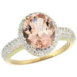 Natural 2.56 ctw Morganite & Diamond Engagement Ring 10K Yellow Gold - REF-56M6H