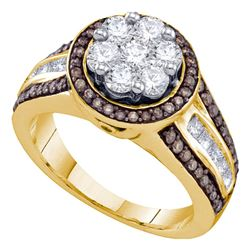 1.38 CTW Brown Color Diamond Flower Cluster Ring 10KT Yellow Gold - REF-127K4W