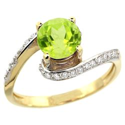 Natural 0.99 ctw peridot & Diamond Engagement Ring 14K Yellow Gold - REF-52Y2X