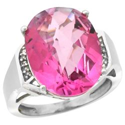 Natural 11.02 ctw Pink-topaz & Diamond Engagement Ring 14K White Gold - REF-65Z8Y