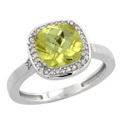 Natural 3.94 ctw Lemon-quartz & Diamond Engagement Ring 14K White Gold - REF-36K7R