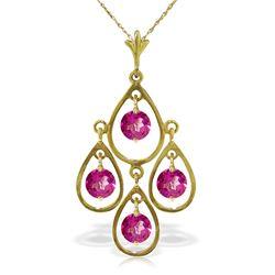 Genuine 1.20 ctw Pink Topaz Necklace Jewelry 14KT Yellow Gold - REF-31X2M