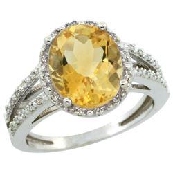 Natural 3.47 ctw Citrine & Diamond Engagement Ring 14K White Gold - REF-46M3H