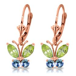Genuine 1.24 ctw Peridot & Blue Topaz Earrings Jewelry 14KT Rose Gold - REF-38Z2N