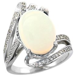 Natural 5.76 ctw opal & Diamond Engagement Ring 14K White Gold - REF-94G6M