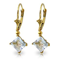Genuine 3.2 ctw Aquamarine Earrings Jewelry 14KT Yellow Gold - REF-39N4R
