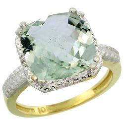 Natural 5.96 ctw Green-amethyst & Diamond Engagement Ring 10K Yellow Gold - REF-32F4N