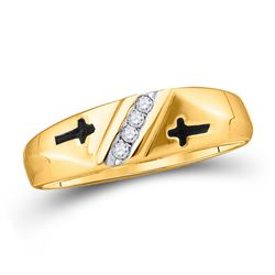 0.05 CTW Mens Diamond Single Row Cross Wedding Ring 10KT Yellow Gold - REF-11N2F
