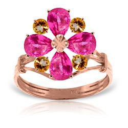 Genuine 2.43 ctw Pink Topaz & Citrine Ring Jewelry 14KT Rose Gold - REF-48V9W