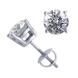 14K White Gold 2.06 ctw Natural Diamond Stud Earrings - REF-521H4F-WJ13300