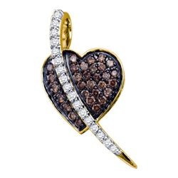 0.50 CTW Cognac-brown Color Diamond Heart Love Pendant 10KT Yellow Gold - REF-25Y4X