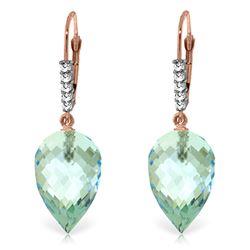 Genuine 22.65 ctw Blue Topaz & Diamond Earrings Jewelry 14KT Rose Gold - REF-65R3P