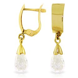 Genuine 2.5 ctw White Topaz Earrings Jewelry 14KT Yellow Gold - REF-22W3Y