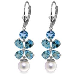 Genuine 6.28 ctw Blue Topaz & Pearl Earrings Jewelry 14KT White Gold - REF-49M8T