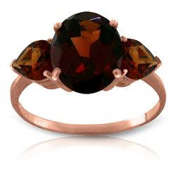 Genuine 4.1 ctw Garnet Ring Jewelry 14KT Rose Gold - REF-40F3Z