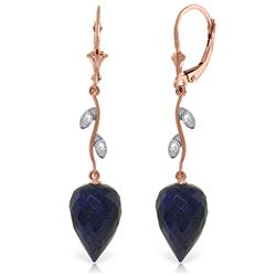 Genuine 25.72 ctw Sapphire & Diamond Earrings Jewelry 14KT Rose Gold - REF-53K4V
