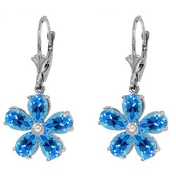Genuine 4.43 ctw Blue Topaz & Diamond Earrings Jewelry 14KT White Gold - REF-49Z8N
