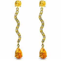 Genuine 4.35 ctw Citrine & Diamond Earrings Jewelry 14KT Yellow Gold - REF-62N3R